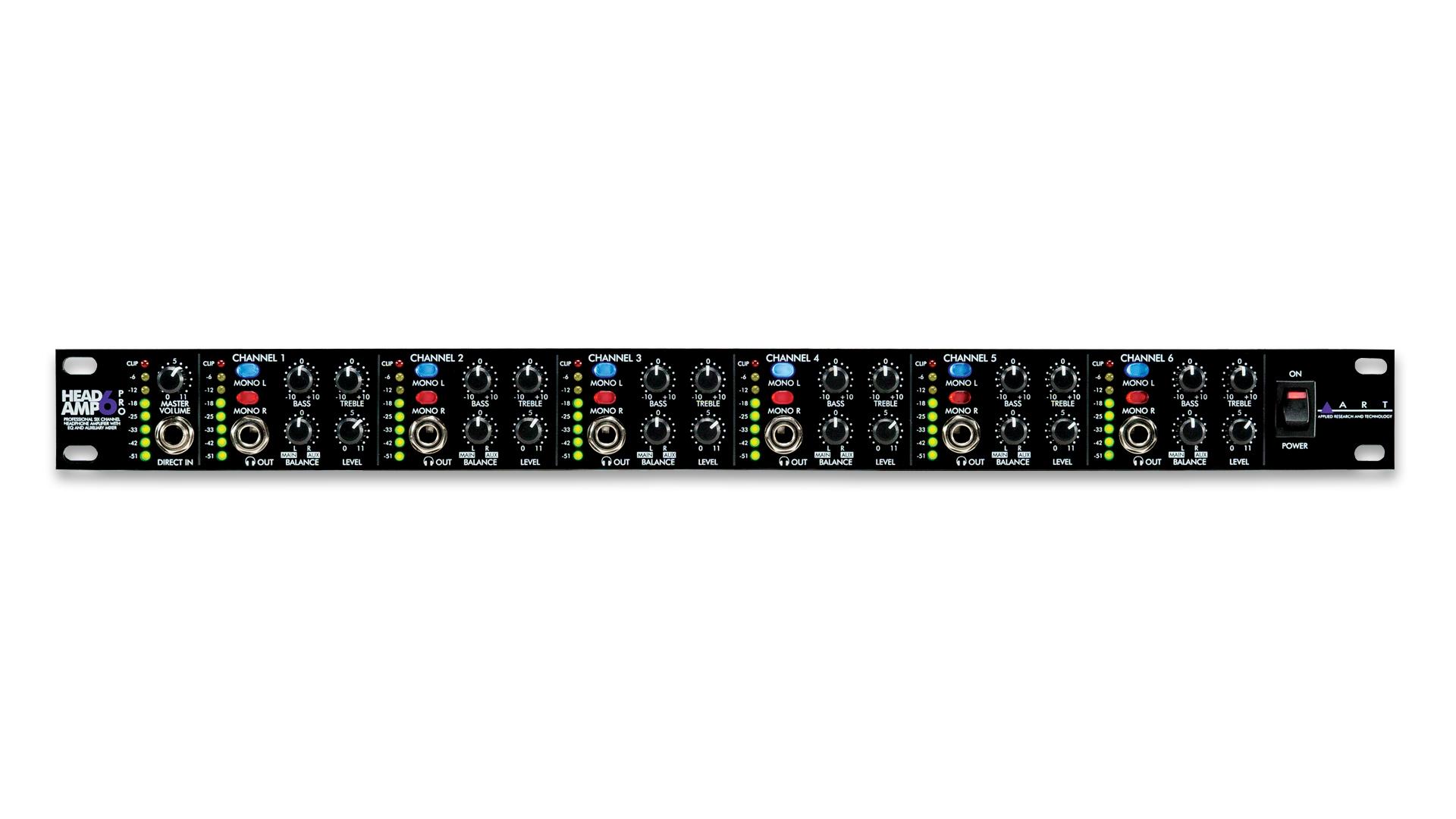 ART Pro Audio HeadAmp6 6 Channel Independent Stereo Headphone Amplifier Power