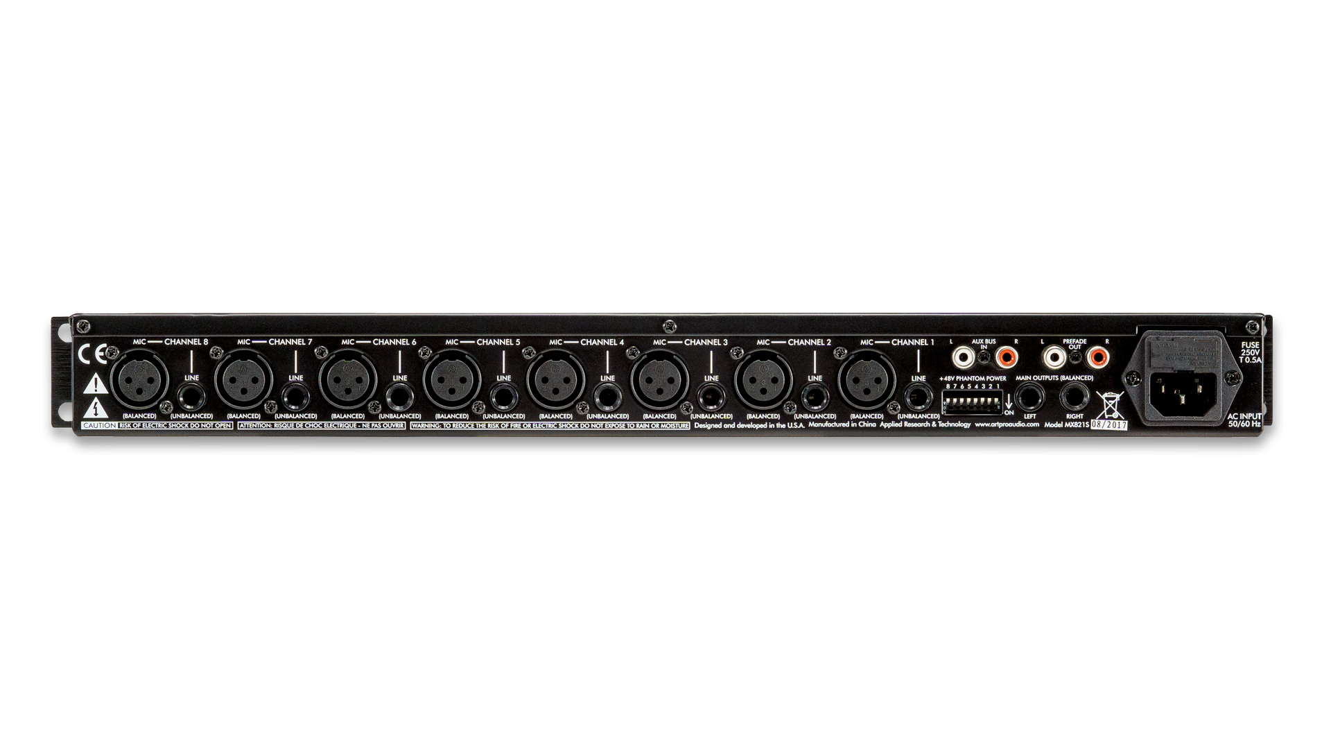Mx821s Eight Channel Mic Line Mixer With Stereo Outputs Art Pro For Microphone 2 Channels